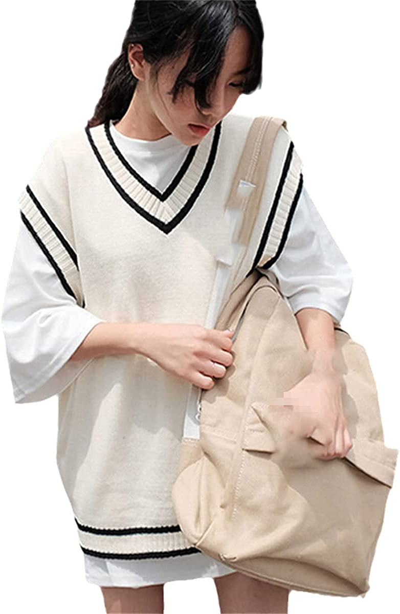 Women's Vest Women's Striped V-Neck Everyday Knitting Fashion Student Korean Sleeveless Jacket