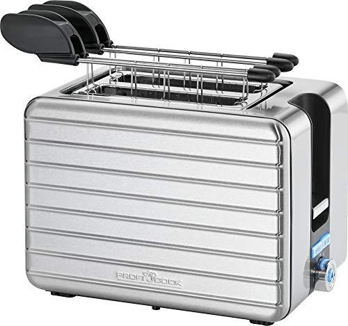 ProfiCook PC-TAZ 1110, kompakter 2-Scheiben Zangentoaster mit extra breiten Toastschlitzen, 40 mm, Edelstahlgehäuse, inox