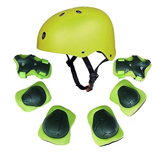 Kids Youth Sports Set protettivo con elmetto Protezione polso gomito al polso protezione per pattini a rotelle BMX Bike Skateboard, verde