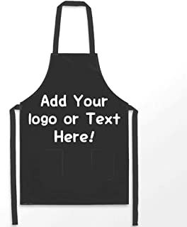 Personalized Apron, Custom Apron with Your Love Image or Text, Kitchen Adjustable Apron with Pockets, Home Kitchen Apron for Women Men Chef, Durable Neck Strap, Black