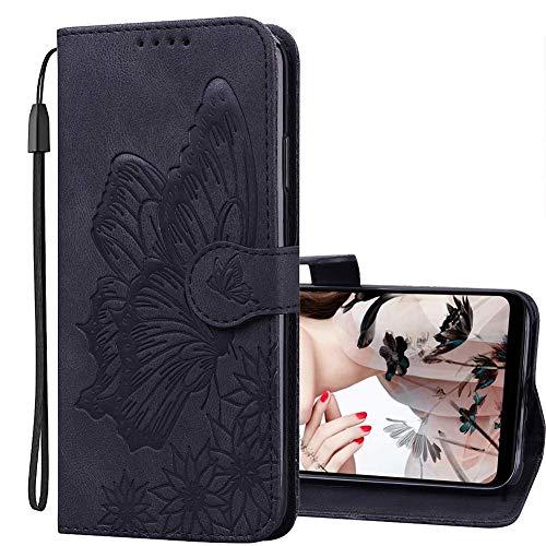 IMEIKONST Handyhülle für Samsung Galaxy A32 5G, Geldbörse Hülle für Samsung A32 5G, Retro Leder Flip Magnetic Handyhülle Schutzhülle Samsung Galaxy A32 5G. Butterfly Black CYB