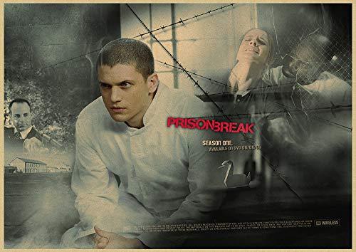 h-p Prison Break Wentworth Miller American TV Series Retro Canvas Art Pintura Al Óleo Cartel Decoración para El Hogar Mural Frameless50X60Cm U10180