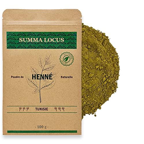 Henné (Lawsonia inermis) en poudre 100g Qualité Supérieure pour Coloration cheveux (Reflets Acajou) et Tatouage temporaire, délicatement déshydratée et broyée, 100% naturelle et sans additifs