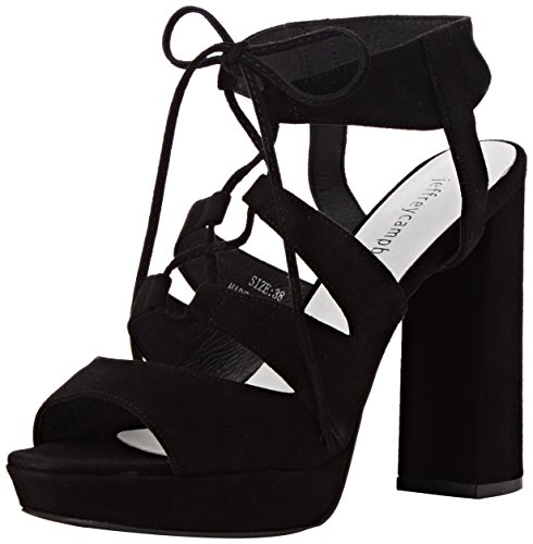 Jeffrey Campbell Ibex Suede, Chaussures à Talons à Bout Ouvert Femme, Noir, 40