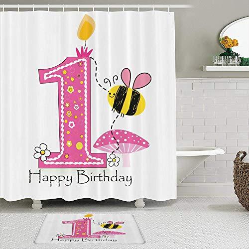 vhg8dweh Duschvorhang Sets mit rutschfesten Teppichen,Cartoon Bienen Party Kuchen Kerze, Badematte + Duschvorhang mit 12 Haken