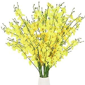 XHXSTORE 10pcs Flores Artificiales Decoracion Jarrones Flor Orquidea Artificial Amarillas Flores Plastico Jazmin para…
