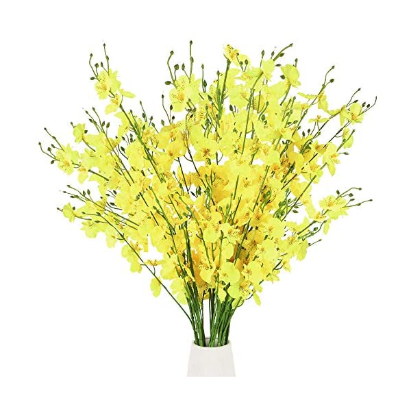 XHXSTORE 10Pcs Artificial Silk Yellow Flowers Orchid Phalaenopsis Bouquet Faux Flowers for Bathroom Outdoor Indoor Home Wedding Garden Office Fake Flowers for Decoration Living Room Table Vase Grave