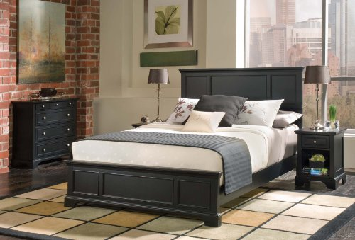Home Styles Bedford Queen Bed Headboard, Footboard, Rails and Matching Wood Panel Bed Chest and Nightstand Set in Black