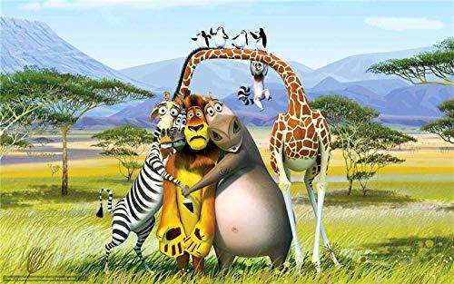 Lv5Panel Puzzles-Juego De Rompecabezas De Madera De 1000 Piezas para Adultos Niños Puzzle Juguetes Decoración del Hogar Paisaje Pingüino Jirafa León De Madagascar&Regalos De Cumpleanos