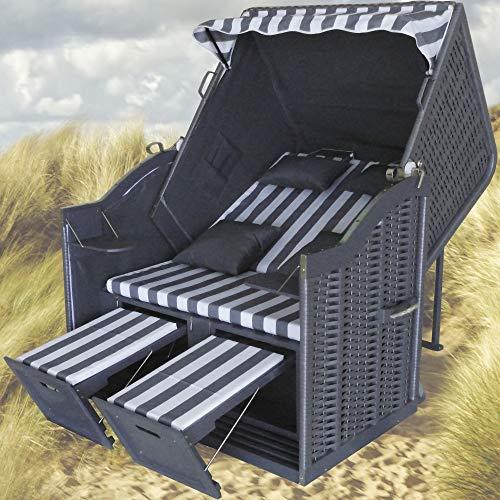 XINRO® Strandkorb XL grau Polyrattan grau Strandkorb XL Ostsee XL Strandkorb Volllieger Strandkorb 2 Sitzer Strandkorb grau Rattan - 4