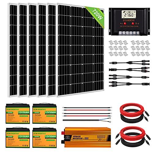 ECO-WORTHY 720 W (6 piezas 120 W) Panel solar mono Kit completo para barco de RV fuera de la red con controlador de carga LCD + cable + soportes de montaje + batería de litio + inversor
