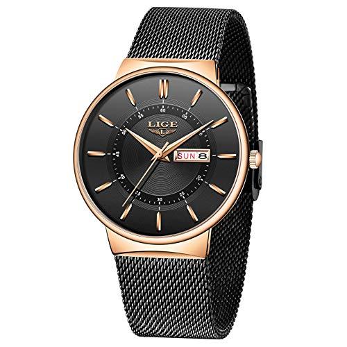 LIGE Herren Uhren Ultra Dünne Wasserdicht Schwarze Minimalistische Quartz mit Datumsanzeige