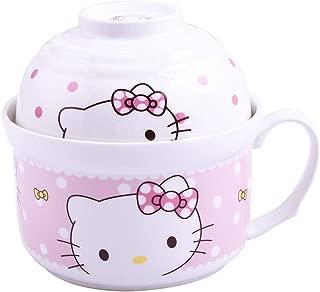 Ceramic Soup Mug with Handle and Lid Bowls set, Cartoon Noodle Bowls for Children (KT2)