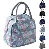 TOPSEFU Lunch Bag Tote Bag for Women Wide Open Insulated Cooler Bag Water-Resistant Thermal Leak-Proof Lunch Organizer for Men Girls Children Outdoor Picnic Work (Flamingo)