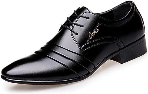 Herrenschuhe, 2018 Frühling Herbst Business Schuhe, Spitz Zehen Kleid Schuhe, Mode Schnürschuhe, Weißhe Lederschuhe, Hochzeit Party & Abend Schwarz(Farbe   Schwarz Größe   44)