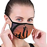 Masken Comfortable Windproof mask,Boys Playing Basketball at Sunset Horizon Sky with Dramatic Scenery,Fashion Facial Decorations for Unisex