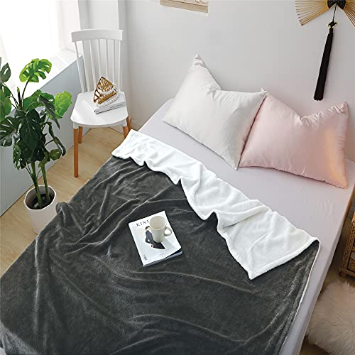 Oliven Sherpa Flanell Decke 60 '' * 80 '' Soft Fluffy Throws Decke für Sofa/Bett Mikrofaser Gitter geprägt - Double Layer Decken -Blau