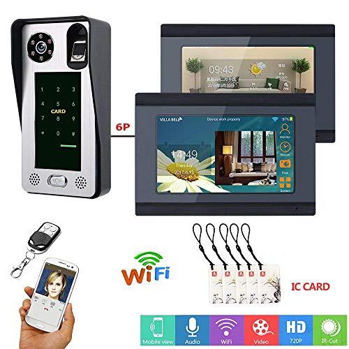 7 pulgadas con cable WiFi huella digital IC tarjeta video portero telefónico timbre sistema de portero con sistema de control de acceso a la puerta, apoyo remoto APP desbloqueo