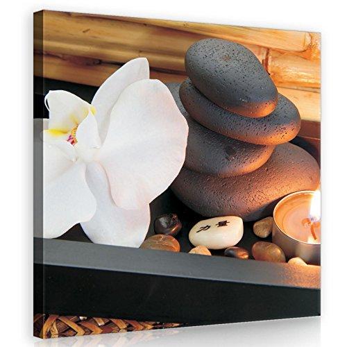 FORWALL AMFPP10188O2 - Cuadro en lienzo (80 x 80 cm), diseño de orquídeas y piedras
