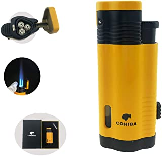 Torch Lighter 3 Torch Jet Flame with Punch Windproof Butane Fuel Lighter Refillable Inflatable(Without Gas) (Yellow)