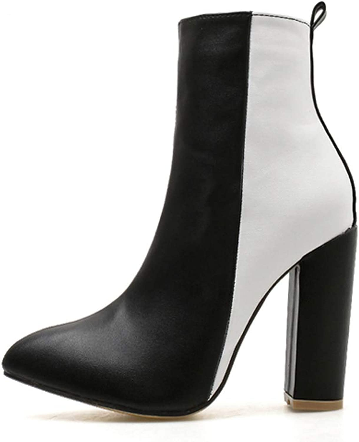T-JULY Chunky Pointed Toe Zipper Short Winter Booties for Women Boots PU Leather shoes Black High Heel Chelsea Boots Size 35-40