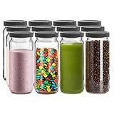 SUXNOS Juego de 12 tarros de cristal de viaje, 500 ml, con tapa de rosca, para almacenamiento de cocina, té, especias, zumo, leche, bebidas caseras