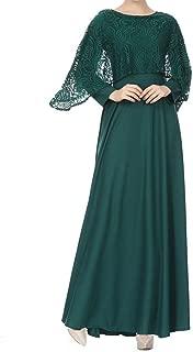 Women Muslim Dress,Koolee Muslim Eid Long Dress Skirts Long Sleeves Kaftan Holiday Lace Chiffon Maxi Dress (XL, Green)