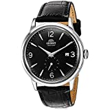 Orient Men's Bambino Small Seconds Stainless Steel Japanese-Automatic Watch with Leather Strap, Black, 21 (Model: RA-AP0005B10A)