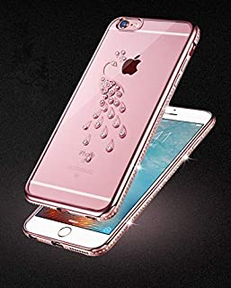 Loxxo® iPhone 6 / 6s Luxury Bling Crystal Rhinestone Diamond Peacock Case for iPhone 6/6s case Soft Clear Silicone Shell Bag Coque Cover (Rose Gold)