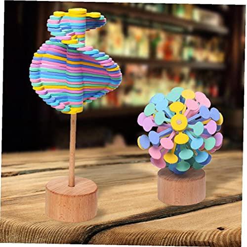 One Pack de madera Rotating Decompression Lollipop Rotary Relieve Barra de juguetes para niños Adultos (color de Macarrón) Educación temprana Juguetes para bebés juguetes divertidos