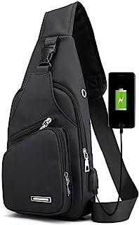 Sling Bag for Men Women, Lightweight Sling Bag Crossbody Waterproof Shoulder Chest Bag Small Black Sling Backpack with USB Charging Port (Small Black2)