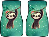 ELEQIN Cute Cartoon Sloth Pattern 2 Piece Car Front Floor Mats Carpets with Rubber Backing ,Durable Non-Slip Universal Auto Foot Mat Fit Most Vehicles SUV&Truck