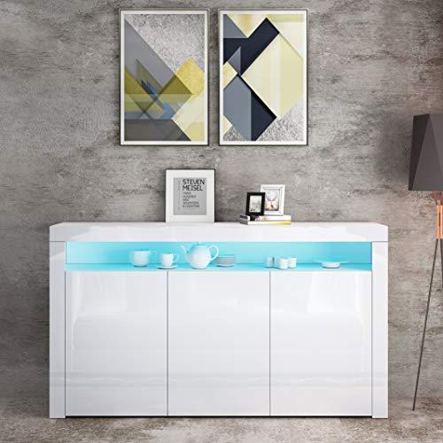 UNDRANDED Highboard Kommode Sideboard, Korpus in Weiß Matt/Hochglanz Front, Mehrzweckschrank mit 3 Türen LED Beleuchtung 152 x 97 x 35cm