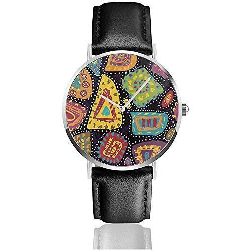 Tribal Multicolor abigarrado Dibujado a Mano en Estilo aborigen Relojes con Correa...