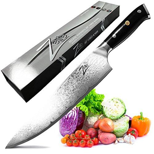 Zelite Infinity Chef Knife 10 Inch - Alpha-Royal Series - Japanese AUS-10 Super Steel 67-Layer Damascus - Razor Sharp, Superb Edge Retention