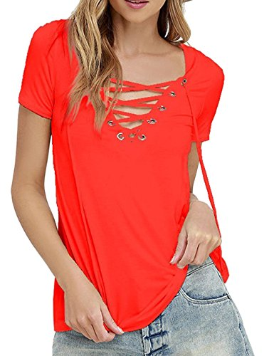 Imagine Women's Summer Sexy Black V Neck Lace Up Short Sleeve Solid Tshirt Tee Tops(Plus Size)(OR,3XL)