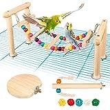 NC Juego de 3 accesorios para jaulas de pájaros, ideal como parque de juegos, incluye puente arco iris, barras de asiento para pájaros, juguete para periquitos, cacatúas y canarios (L)