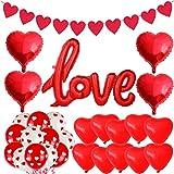 Kit de Decoración para el Día de San Valentín, Globo Rojo con Forma de Corazón AMOR Banner de Amor, kit de Decoración de Fondo Romántico, Boda de Compromiso del Día de San Valentín