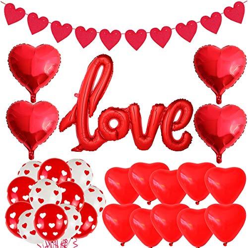 Kit Decorazione Palloncino di San Valentino, Palloncino LOVE Rosso a Forma di Cuore, Banner D'amore, Usato per la Decorazione Romantica del Matrimonio di Fidanzamento di San Valentino