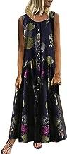 Aniywn Women's Dress Large Size Sleeveless Bohemian O-Neck Floral Print Vintagelong Maxi Dress