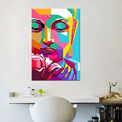 N / A Pintura sin Marco Colorido geométrico Buda Lienzo Pintura Fe Budista Imagen de Arte de Pared Decorar Sala de Estar Dormitorio ZGQ7415 60x90cm