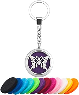 Infinite Memories Butterfly Key Chain Aromatherapy Essential Oil Diffuser Locket Key Ring Car Air Freshener with Pads