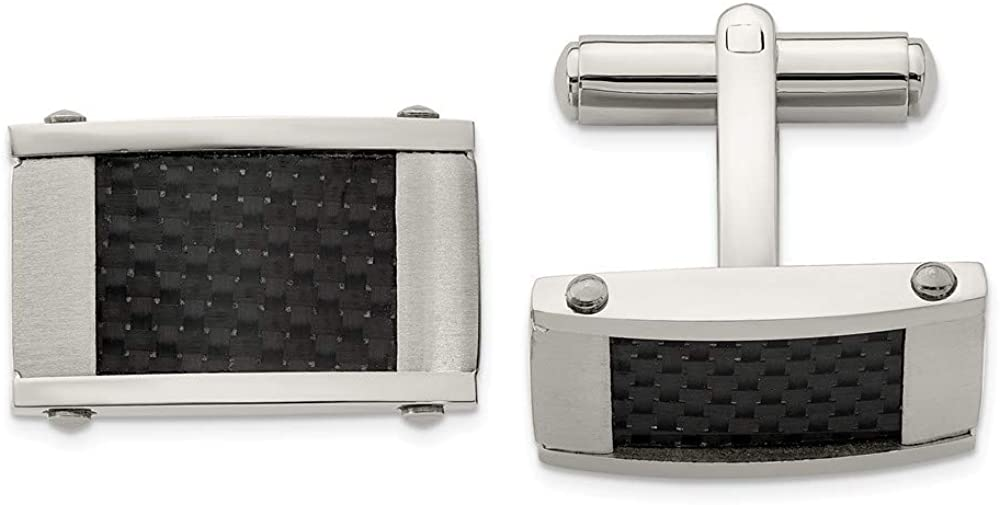 Solid Stainless Steel Men's Brushed and Black Carbon Fiber Inlay Cufflinks - 11mm x 18mm