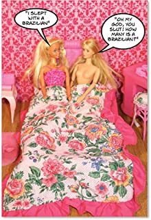 Slept With A Brazilian - Hysterical Birthday Greeting Card with Envelope (4.63 x 6.75 Inch) - Girl Blonde Toys, Funny Birthday Appreciation Card for Women - Cute Gratitude Card for Birthdays 3605