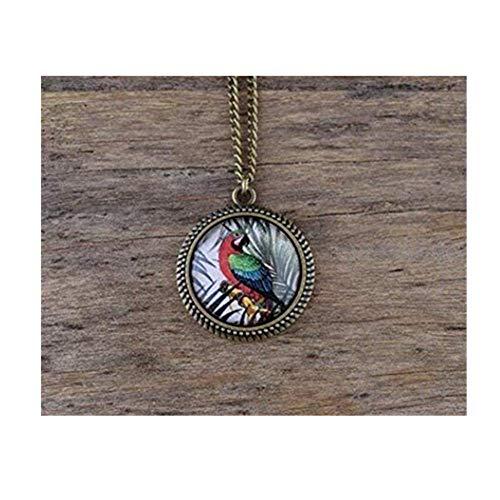 Loro Guacamayo collar, collar, colgante, diseño de loro, color rojo