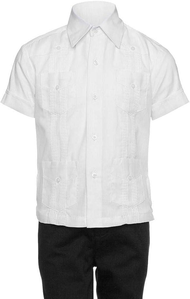 Gentlemens Collection Big Boy's Little Boys Long Sleeve/Short Sleeve Linen Look Guayabera Shirt
