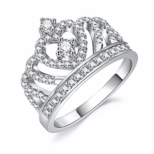 minjiSF Anillo de corona de diamante para mujer con temperamento Dainty, bonitos anillos clásicos, joyas de amor pleno para tu amante, anillo de regalo de cumpleaños (Sliver, 10)