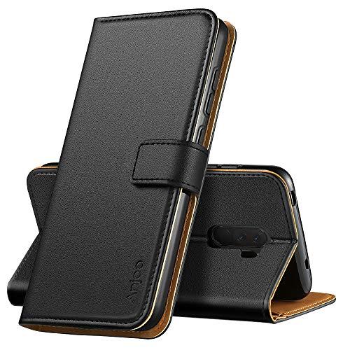 Anjoo Hülle Kompatibel mit Xiaomi Pocophone F1, Handyhülle Tasche Premium Leder Flip Wallet Hülle Kompatibel mit Xiaomi Pocophone F1 [Standfunktion/Kartenfächern/Magnetic Closure Snap], Schwarz