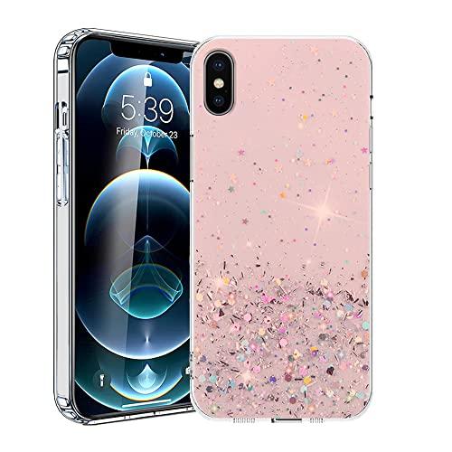 Compatible con Funda iPhone X Glitter, Fundas iPhone X Transparente, Carcasa iPhone X Case Silicona Antigolpes (Rosa, iPhone X)