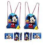 Disney Mickey and Minnie Mouse Drawstring Backpacks Plus Lanyards with Detachable Coin Purse and Autograph Books (Set of 6) (Dark Blue - Dark Blue)